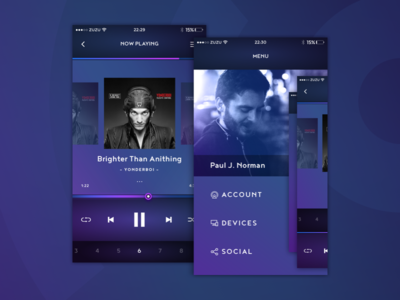 Music app mobile menu album playlist player