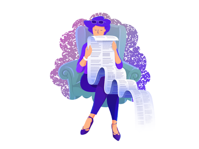 Long stories woman illustration reading story