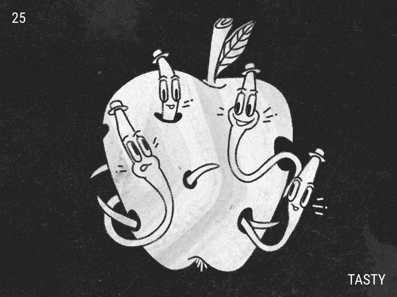 Inktober / 25 - Tasty worms apple worm illustration inktober inktober2019 tasty