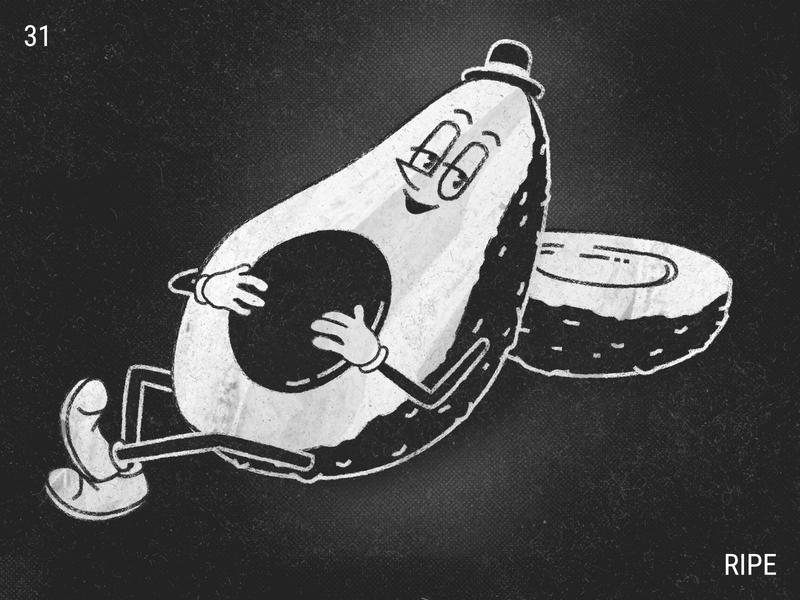 Inktober / 31 - Ripe chill cartoon illustrator 1930 inktober2019 inktober avocado ripe