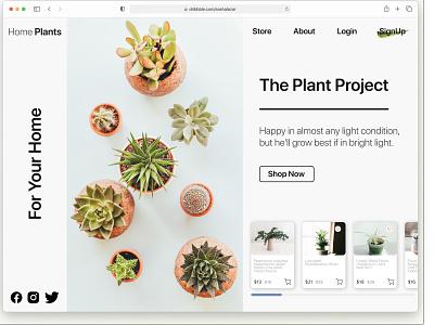 Plant Shop - ecommerce landing page minimal typography landingpage ui figmadesign