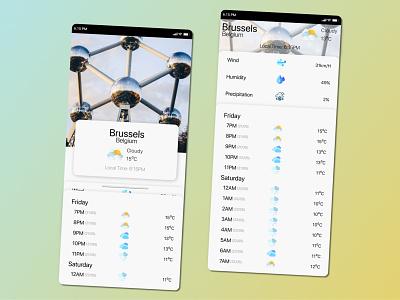 Weather Mobile App ux minimal design ui
