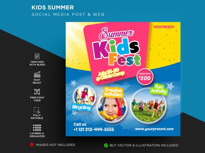 Kids Summer Flyer leaflet kindergarten kids jungle holiday fun flyer festival family day course community class children camping camp boys adventure activity