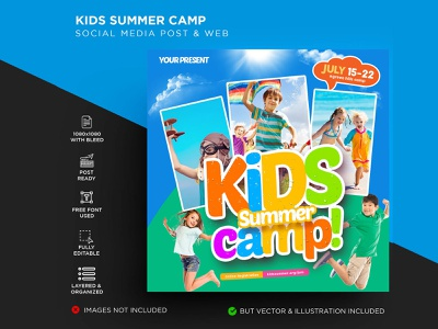 Kids Summer Camp leaflet kindergaten kid holiday girl fun flyer family easter day community class children child camp boys boy birthday adventure activity