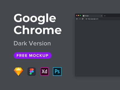 Google Chrome Mockup Freebie (Dark Version) photoshop adobe photoshop adobe xd figma sketch browser freebie free mockup chrome google