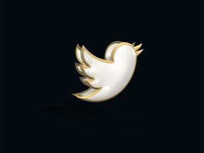 Twitter Bird Chrome and Gold