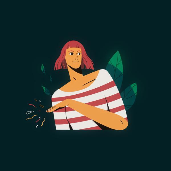 Check my nails stripes girl ginger nails portrait motion graphics illustration geometric design animation fashion