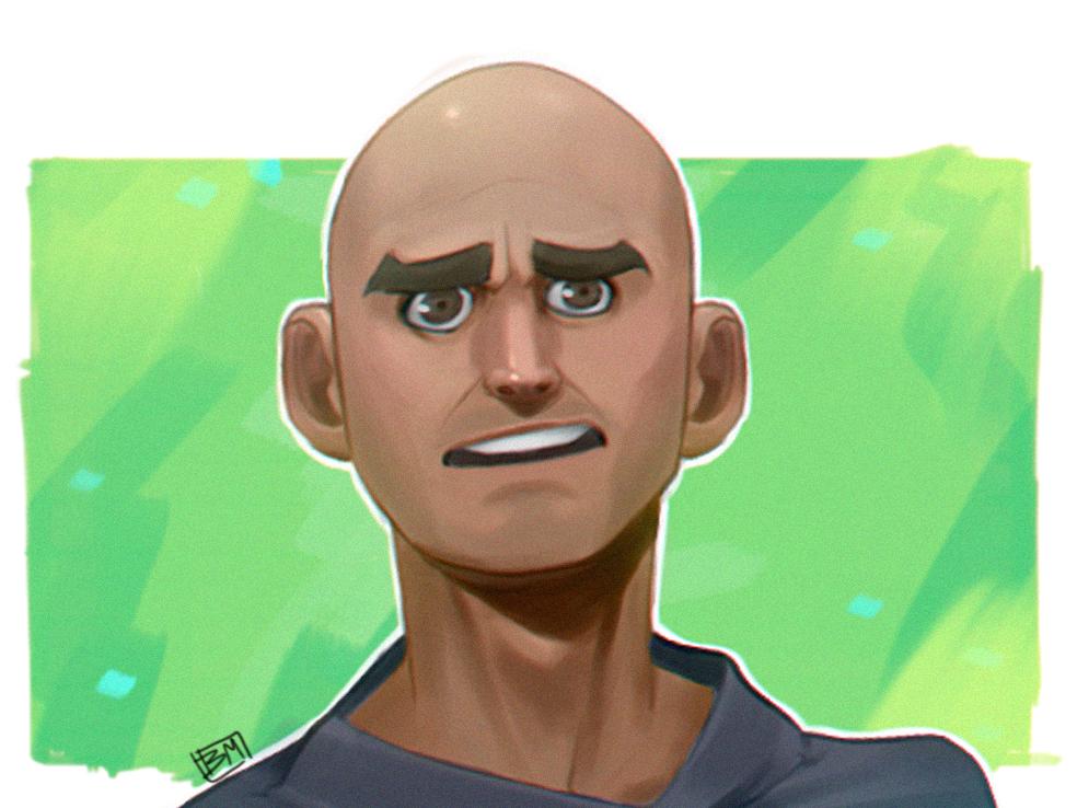 Bald guy portrait characterdesign painting illo illustration photoshop digital painting man