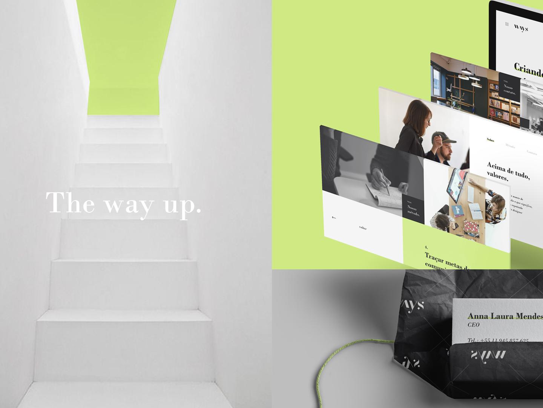 Ways Brand Identity 02 geometric sober lime green fashion bold web icon app ux typography branding logo ui design