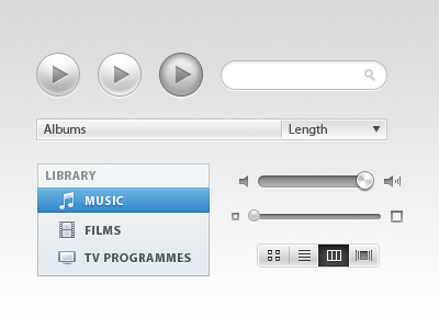 iTunes-Inspired UI itunes yesbethwilsonsatagiloveher ui elements volume slider photoshop play button search bar apple