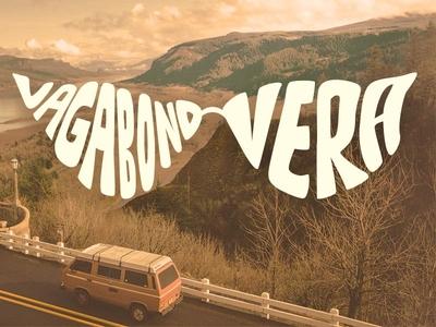 Vagabond Vera Logo sepia glasses roadtrip travel branding logo van life 1970s vintage