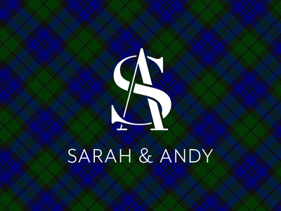 My Wedding Logo back water tartan plaid initials monogram wedding