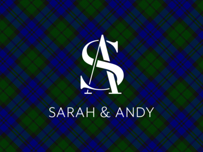 My Wedding Logo back water tartan plaid initials monogram wedding