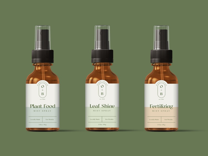 Olive+Botanica Packaging packagingdesign contemporary modern pastel package designer spray bottle plants plant elevated typography brand design brand identity branding package design packaging