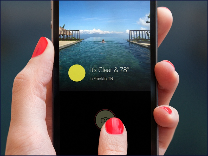 Whoa, cool camera meng... weather weather dial app ios ux ui web design clean minimal camera