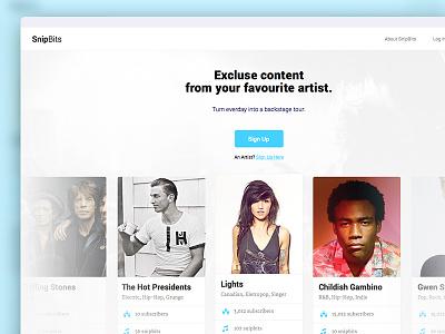 RIP, SnipBits web app design web design card profile player music app design web web app
