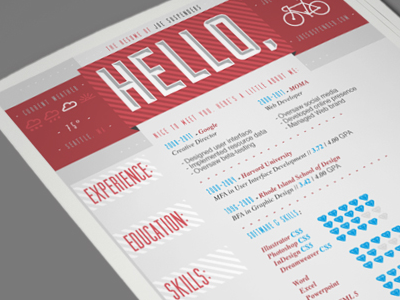Hello, resume print clean red informational infographic design layout
