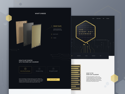 Landing Page for The Every Day Calendar elegant slick chip pattern electronics informational gold dark light structure how it works promo product calendar website landing page web design zajno