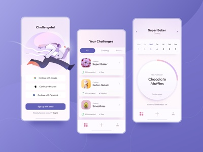 Mobile App to Boost Your Hobbies light interest daily weekly challenge app design personal development hobbies hobby application app mobile zajno