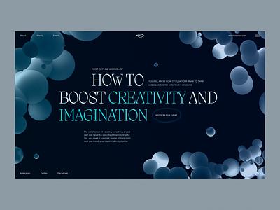 Promo Website & Poster For A Creativity Workshop bubble event offline workshop creativity inspiration poster landing page cinema 4d c4d 3d model 3d website web design zajno