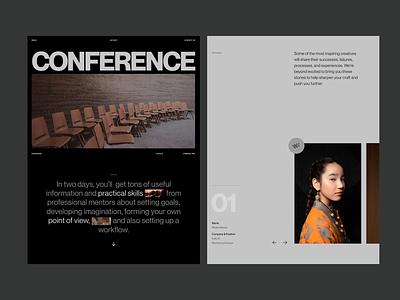 Design Conference Promo Page dark visuals colorpalette bolddesign bold layout landing page web design website ui imagination figma conference promo minimalist