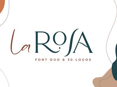 La Rosa Font Duo + 30 Chic Logos minimalist logo modern logo stylish font font branding handwritten font scripture logotype serif font feminine logo brand design ligature font font duo fontself font design