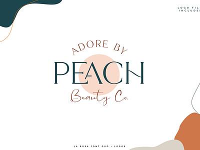 La Rosa Font Duo//Free Peach Logo feminine logo branding chic illustrator photoshop pink ligature font font design freebie colorful logo lovely adorable beauty logo peachy