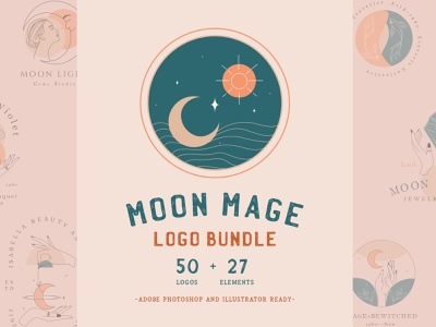 Moon Mage Logo Bundle logo design organic nature moon logo moon hand logo blackmagic witchcraft minimalist minimal moon mage moonlight free logo magic logo