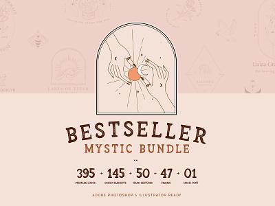 Bestseller Mystic Bundle//All Magical soulmate illustrator feminine blushing blush logodesign stardust moonlight branding jewelry photograhy boutique moons sun logo magic witch