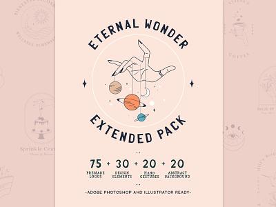 Eternal Wonder Extended Pack + Abstract Background handmade hand abstract coffee cup sun moon vector branding logo design thirdeye illustraion minimal magician magical magic