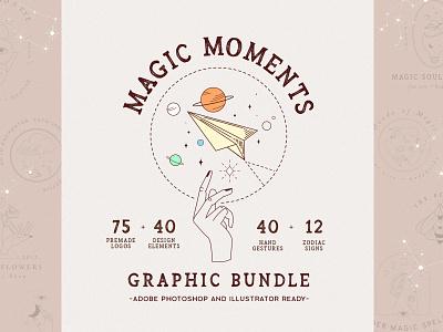 Magic Moments Graphic Bundle//Zodiac branding vector design logo illustration girls femeine logo zbrush hand gestures handmade mistic mystery astronomy zodiac signs zodiac