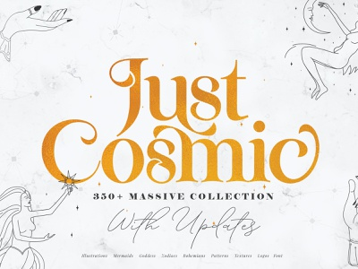 Just Cosmic Collection concept zodiac signs zodiac cosmicode fonts design illustration colorful potrait gesture hand logo mermaid creative character goddess clean mystic cosmic