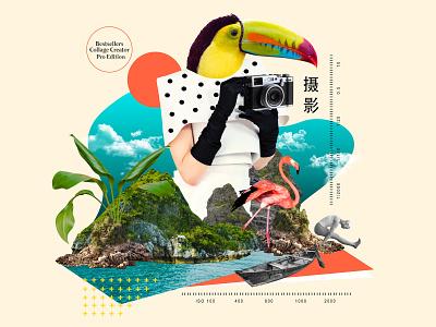 Summer Collage Digital Art Template collage minimal feminine branding