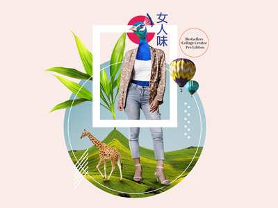 Huge Peafowl Feminine Branding Collage