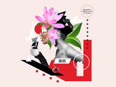 Feminine Premade Digital Collage Art Face Cutout feminine