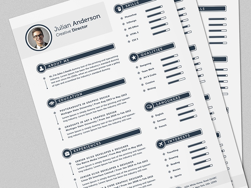 the smart cv resume full set template by daniel e graves