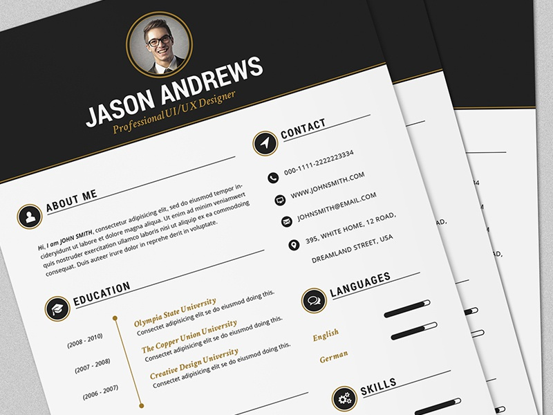 The Elegant Resume/CV Set Template by Daniel E Graves - Dribbble
