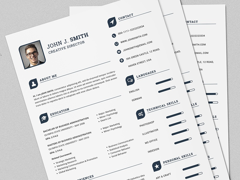 the power resume  cv full set print template by daniel e