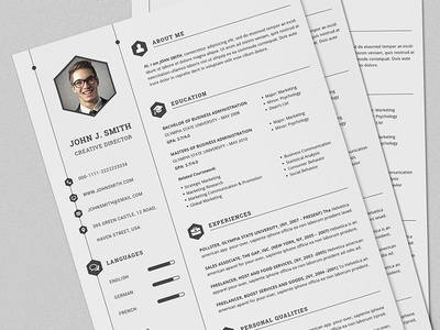 CV/Resume Set Full Print Template With MS Word by Daniel E Graves ...