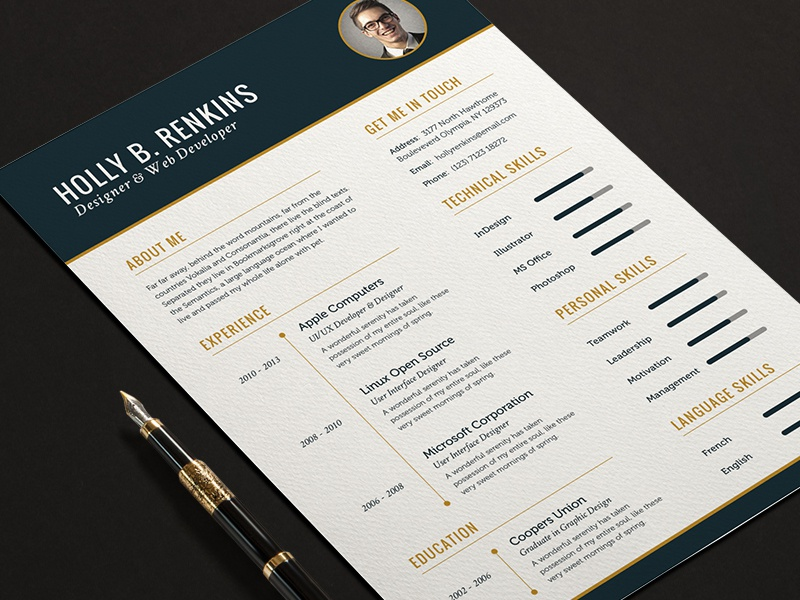 The Elite Resume CV Set Full Print Template