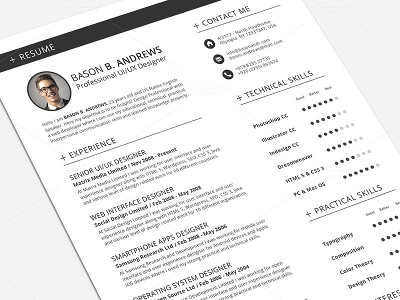 swiss style resume cv full set template by daniel e graves dribbble
