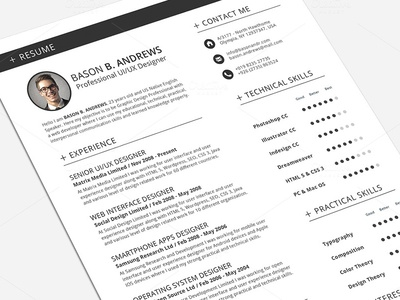 Swiss style resumecv full set template by daniel e graves dribbble swiss style resumecv full set template yelopaper Gallery