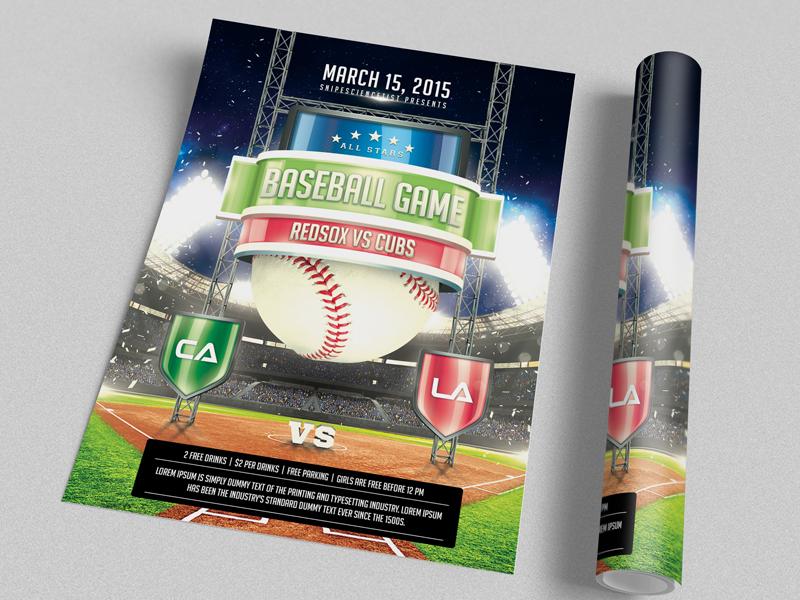 Baseball Game Flyer Print Template PSD - 2 Sizes  baseball flyer baseball game flyer sports flyer game night mlb monday night yankees american sport ball baseball champions championship
