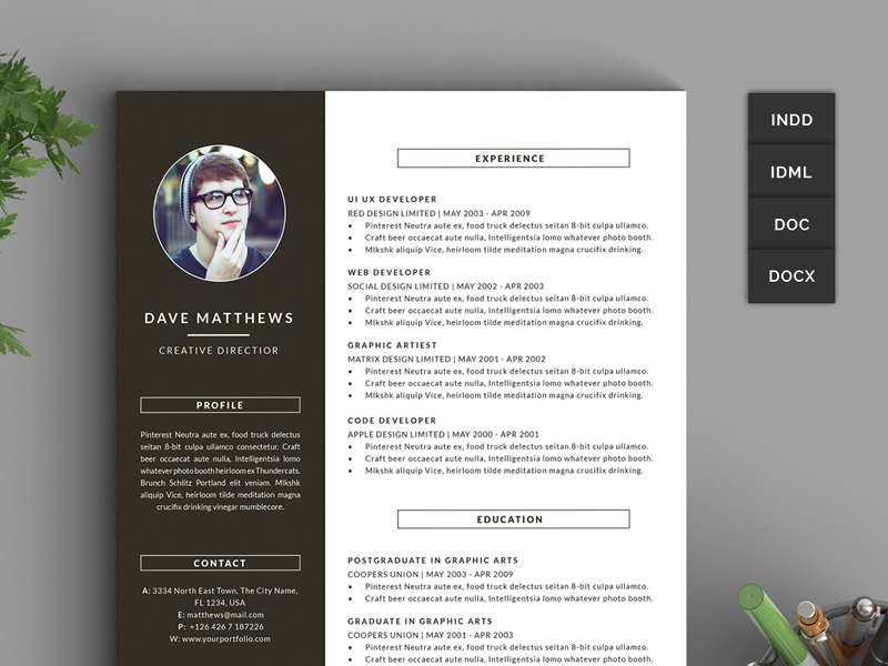 Hipster Resume CV With Cover Letter In MS Word Hipsteria Diy Template