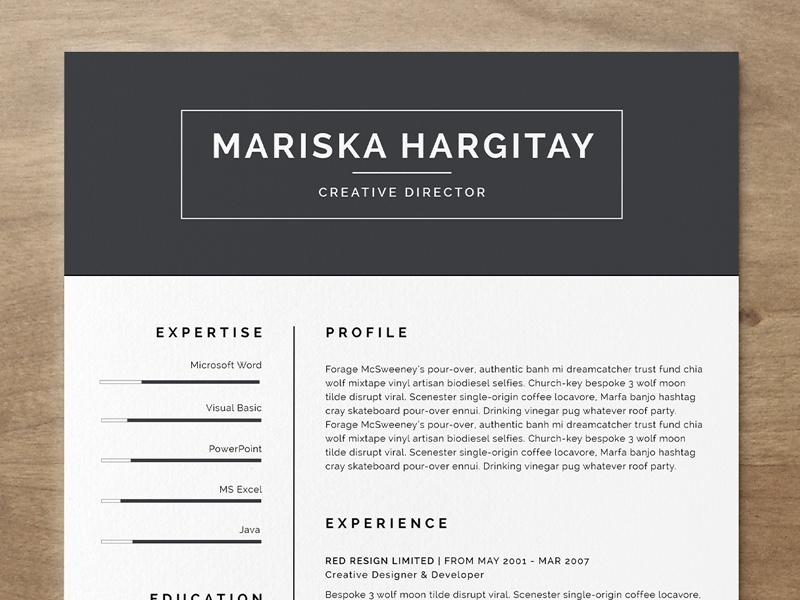 Attractive Dribbble With Cool Free Resume Templates