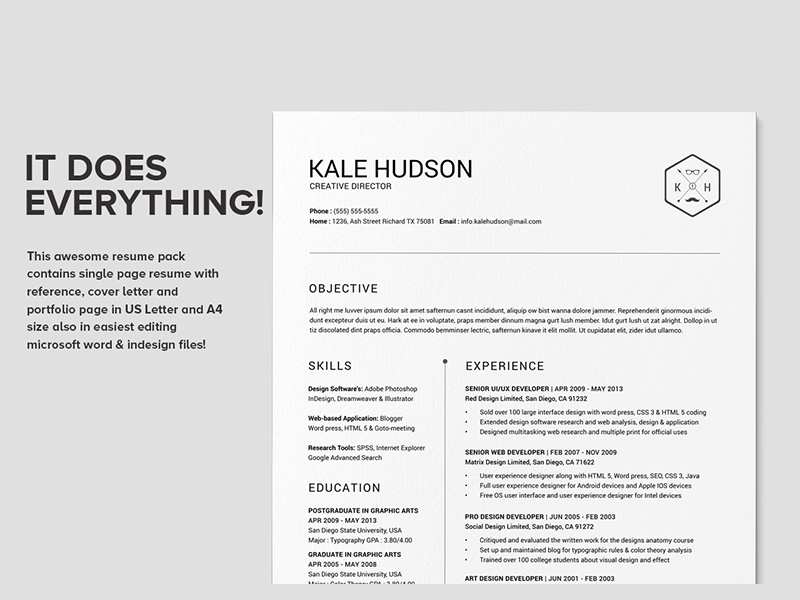 clean resume cv hudson by daniel e graves dribbble