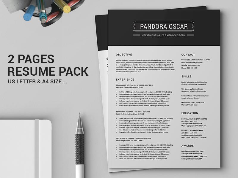 2 pages clean resume cv pandora by daniel e graves dribbble