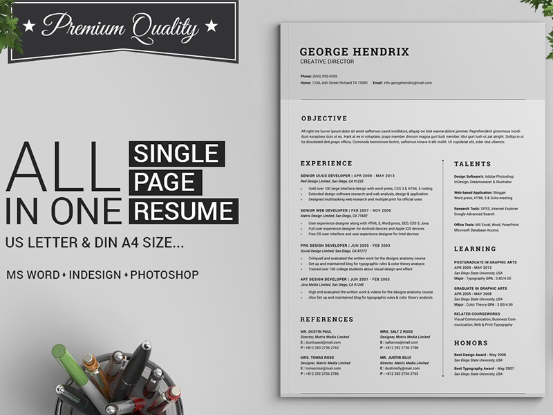 all in one single page resume pack by daniel e graves
