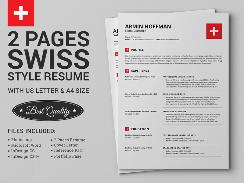 2 pages swiss resume extended pack by daniel e graves dribbble