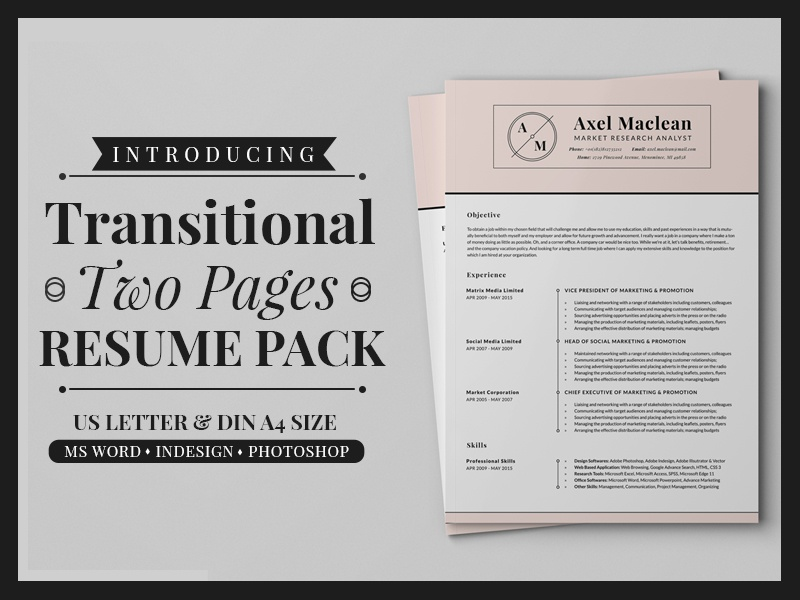 transitional two pages resume pack by daniel e graves